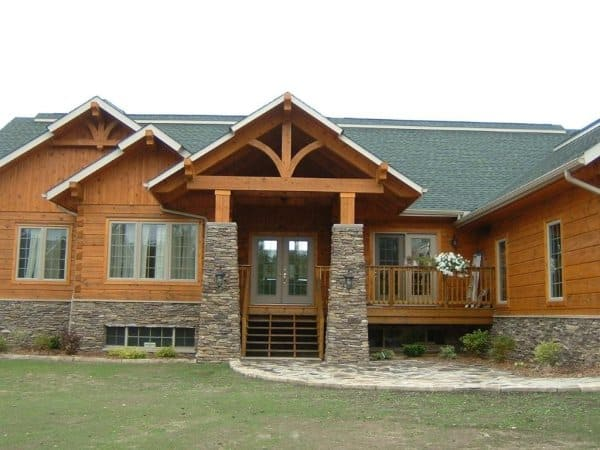 Timber accents really enhance log homes confederation for Timber frame accents