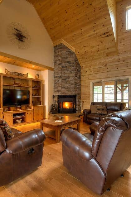 Photo showing the warmth and soaring celings of the great room from the Beaver Run floor plan.