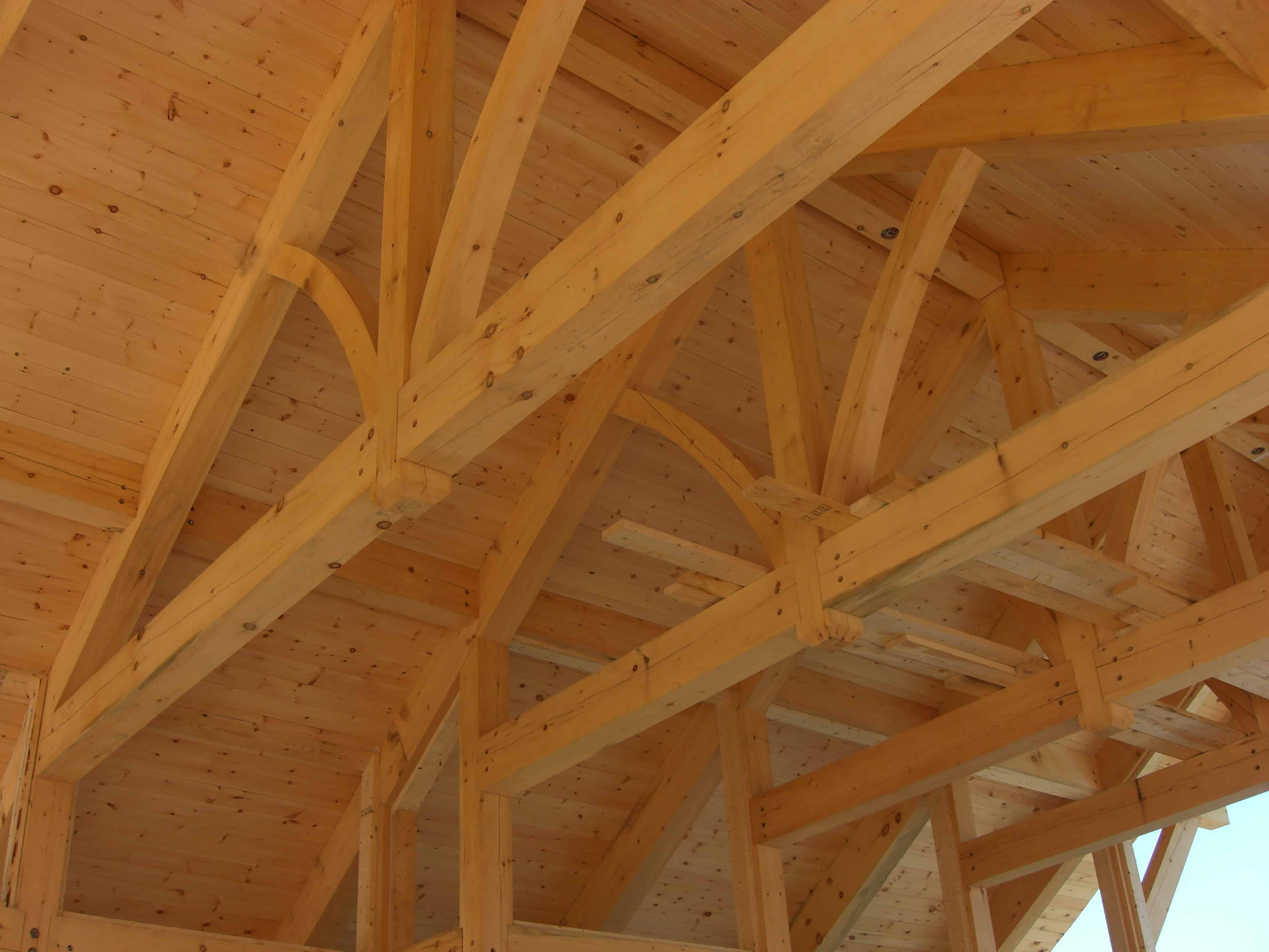Full view timberframe truss under roof