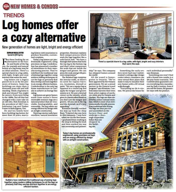Toronto Sun Article on Confederation Log Homes (PDF)