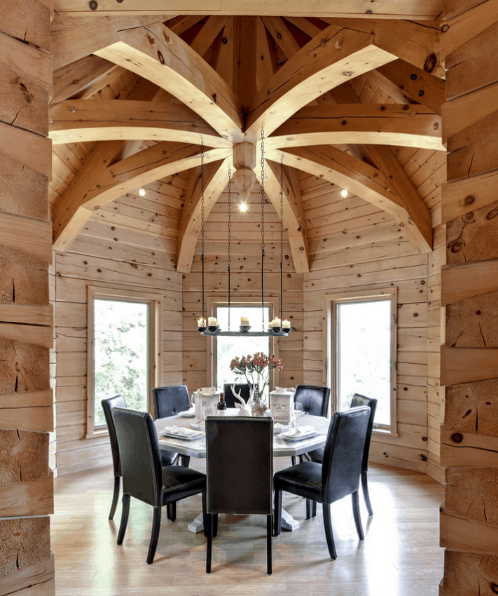 How to build a log cabin ... this photo shows the wow that timber frame accents lend. Learn how Confederation helps you get the wow for less.