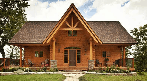 Confederation log and timber frame for Canadian cottage house plans