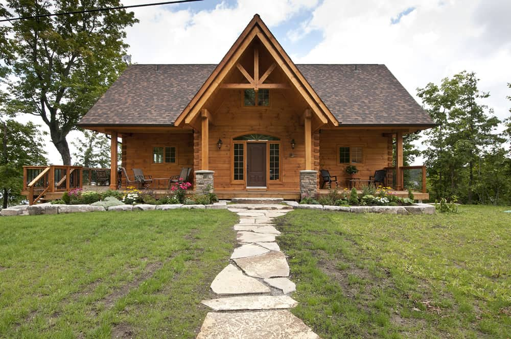 The hillcrest confederation log timber frame for A frame log home