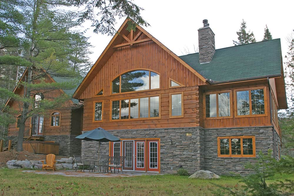 The jefferson confederation log timber frame for Stone and log homes